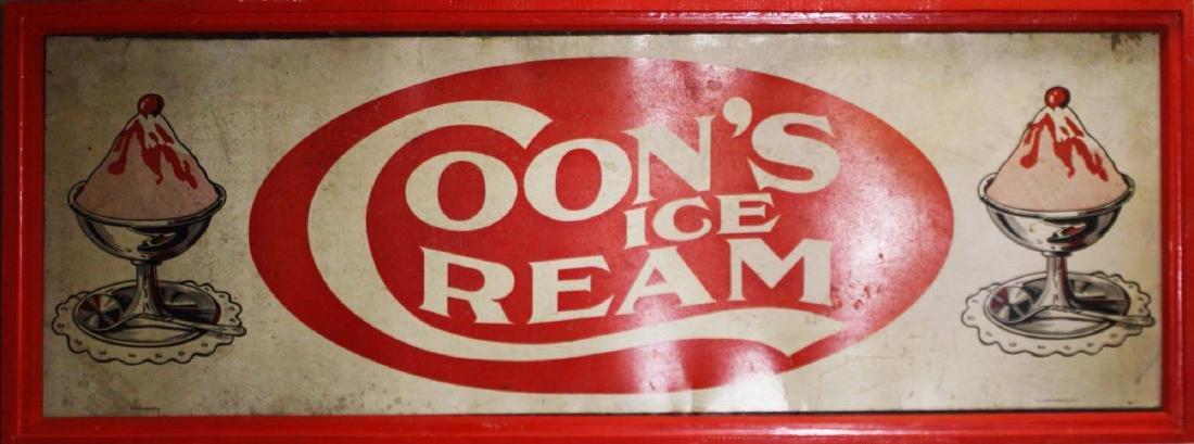 1918 Coon's Ice Cream boxboard sign