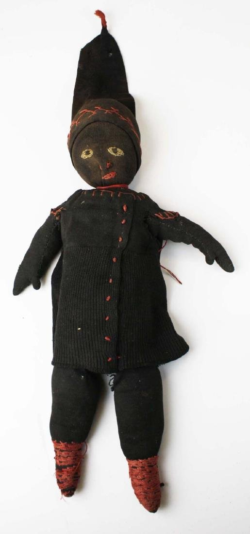 early 20th c folk art Black Americana cloth doll