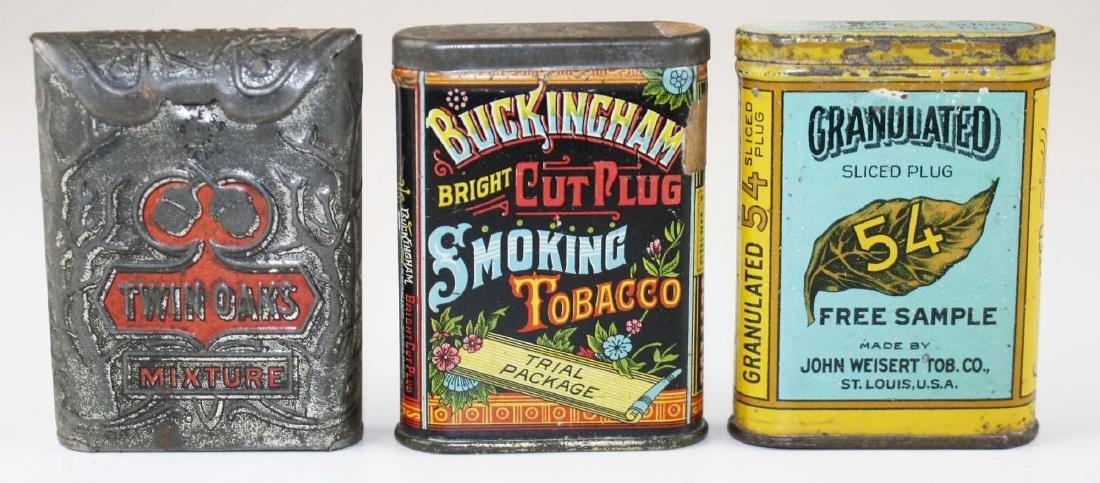 lot of 3 sample size pocket tobacco tins