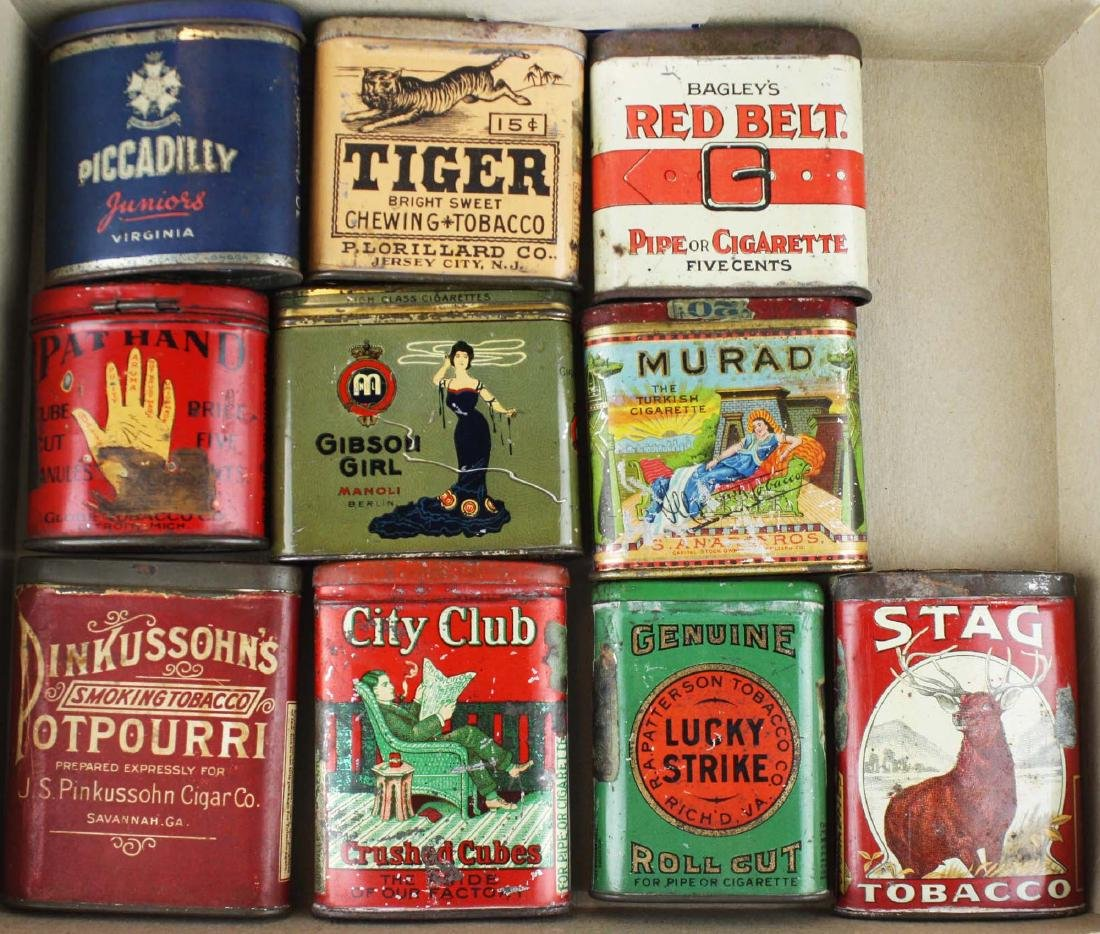 10 small pocket tobacco tins