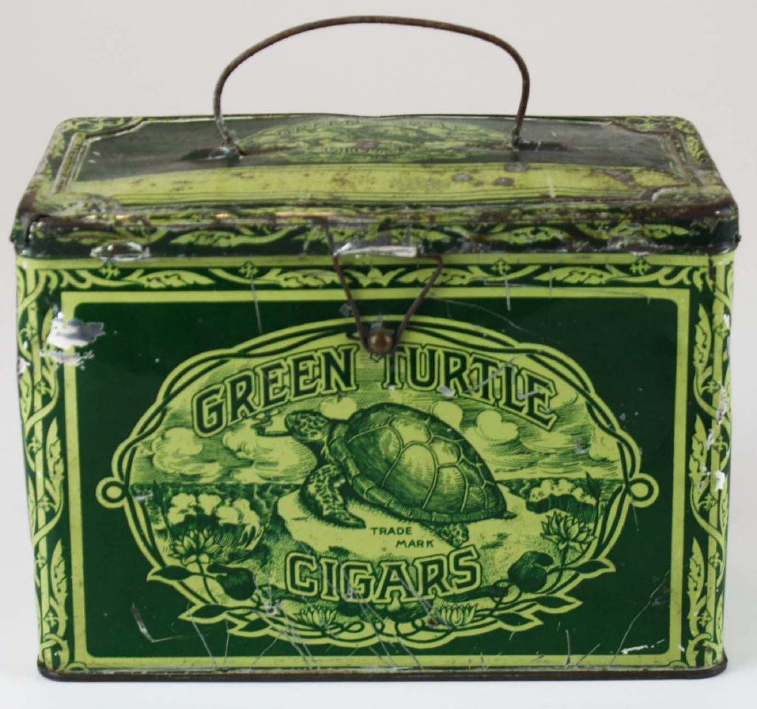 Green Turtle cigars lunch box tobacco tin