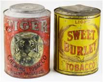 Tiger Sweet Burley store display tobacco tins