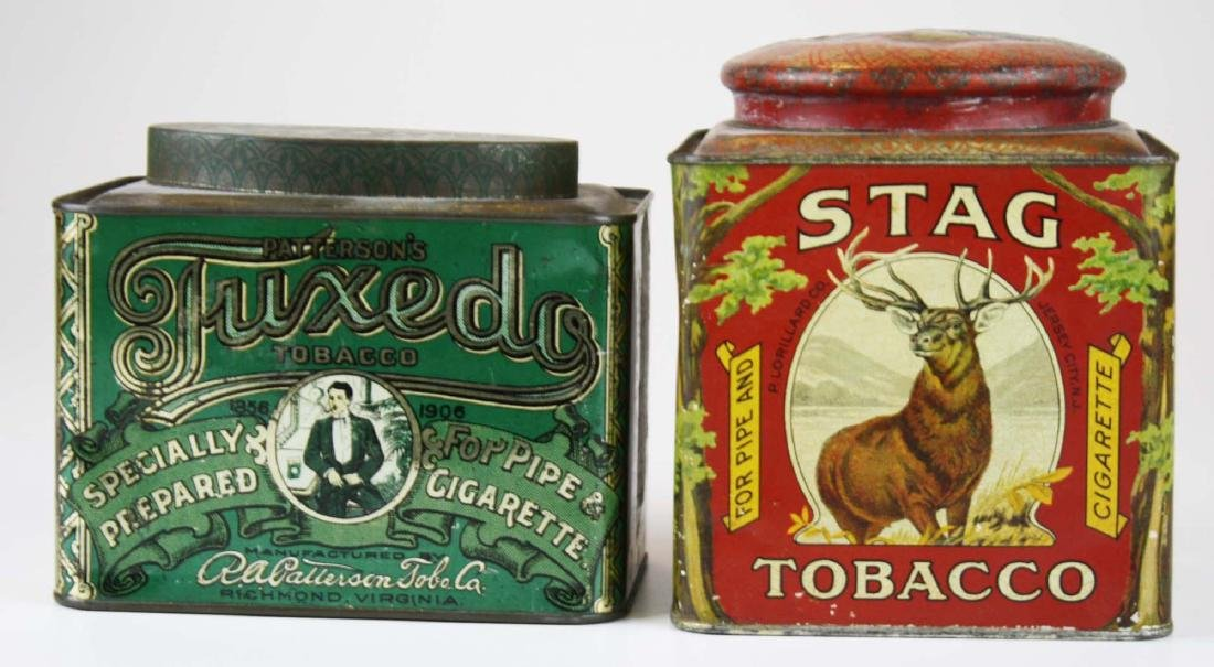 Stag canister, Tuxedo oval top tobacco tins