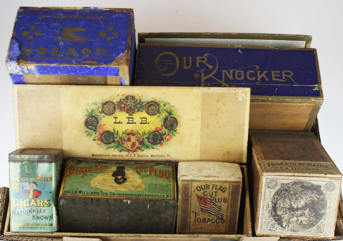 7 wood, boxboard, & tin tobacco containers