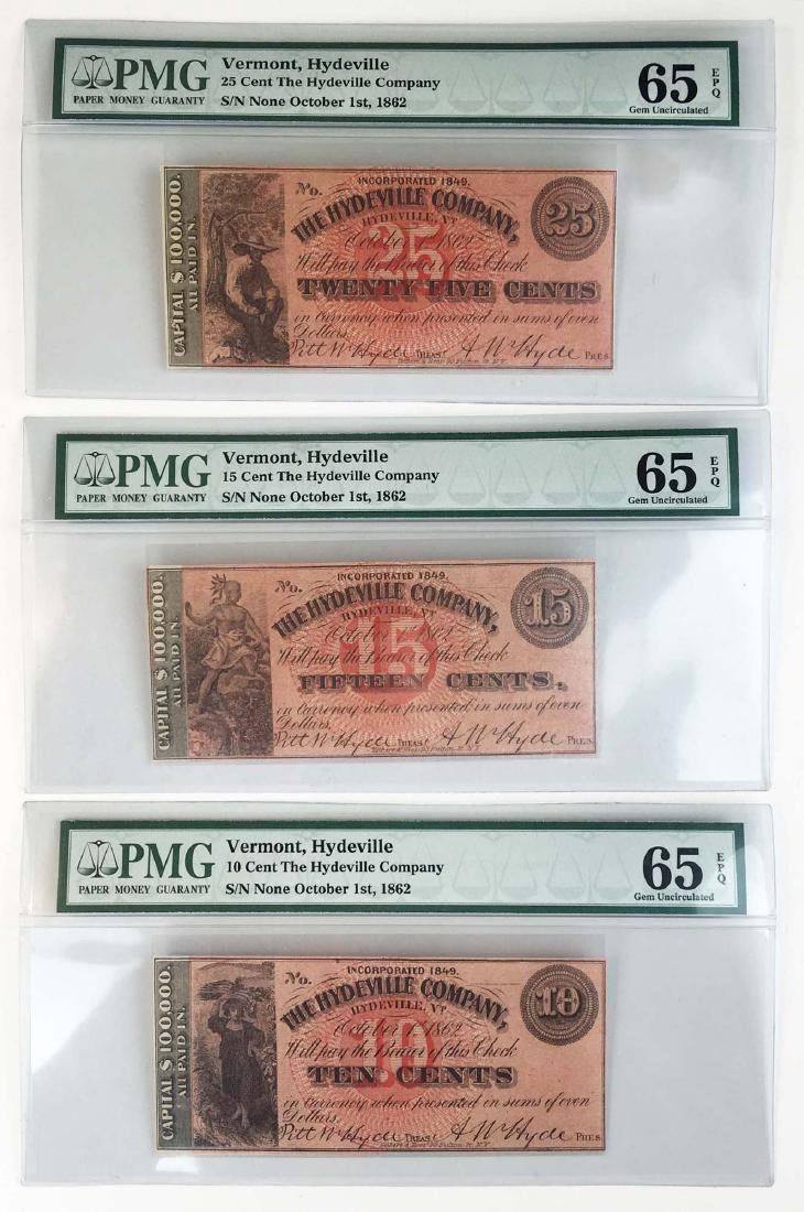 Three The Hydeville Company 1862 Bank notes