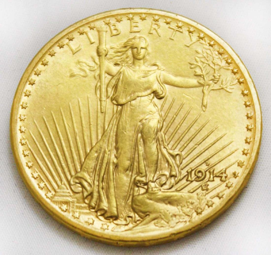 St. Gaudens 1914 D Double Eagle $20 Gold Coin