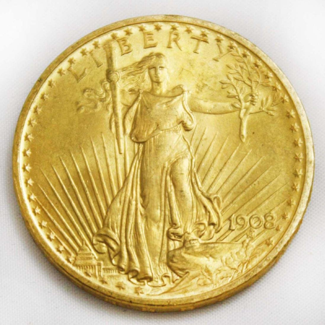 1908 Twenty dollar St Gaudens double eagle