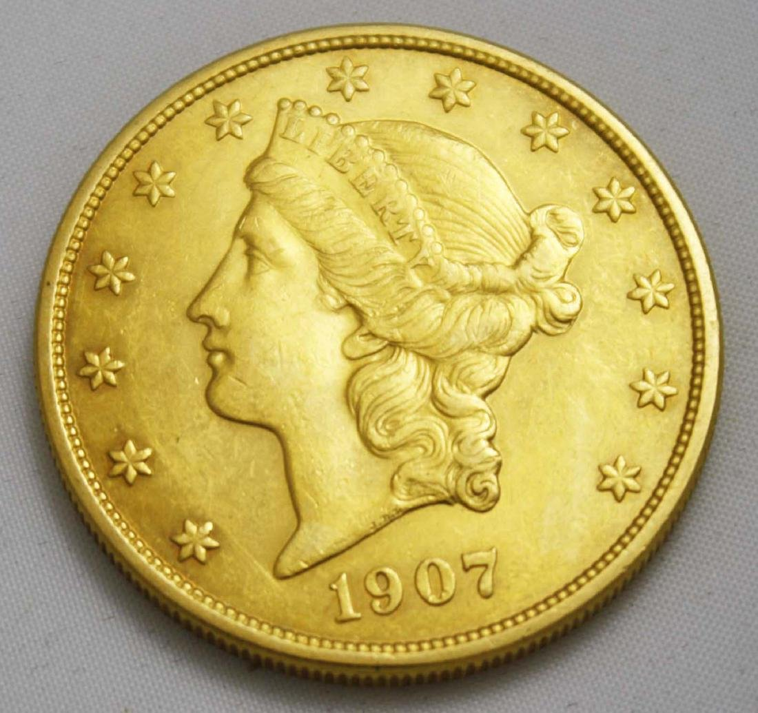 1907  $20 Liberty Double Eagle Coronet Gold Coin