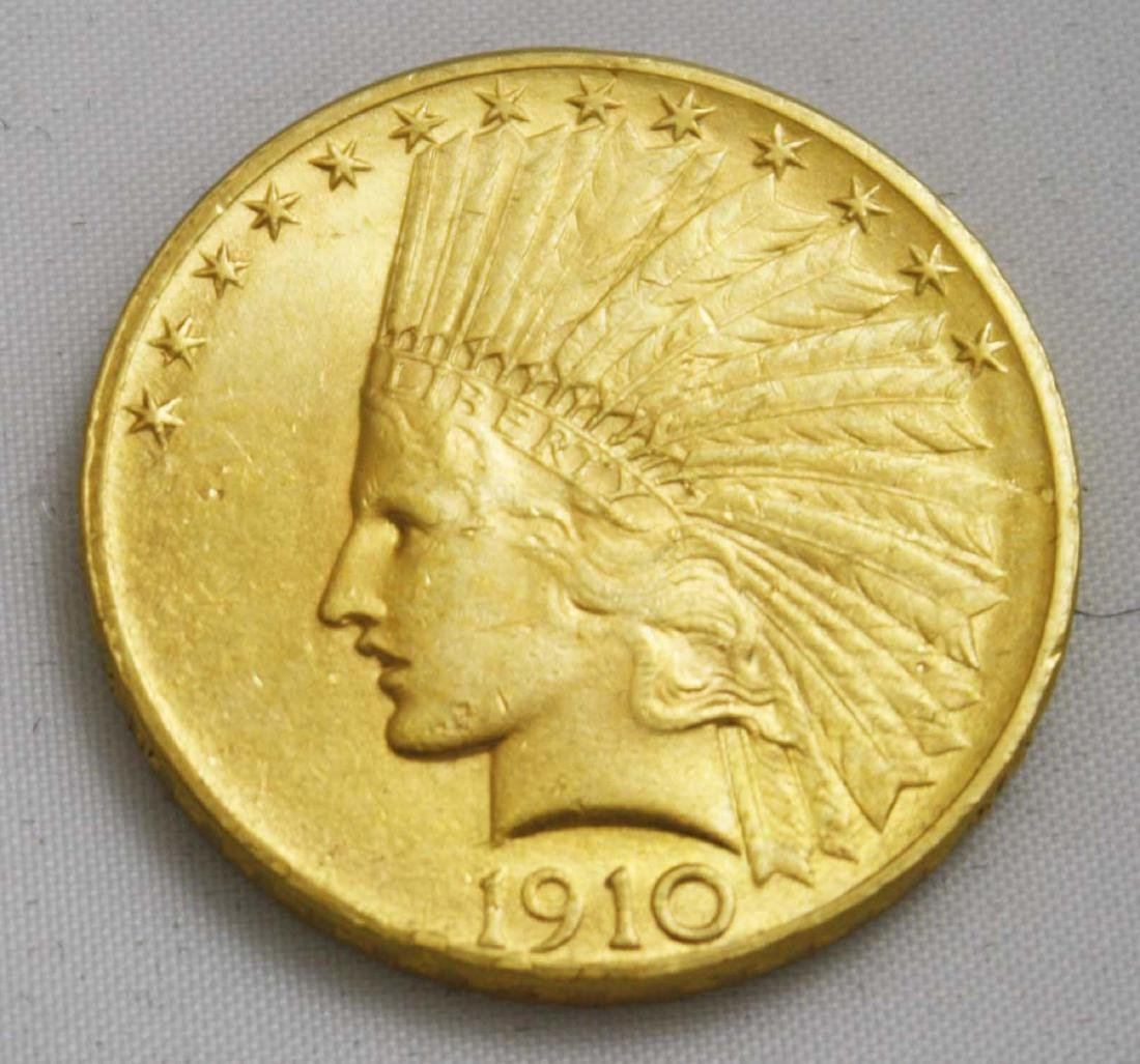 1910 Ten Dollar Indian Head Gold Coin