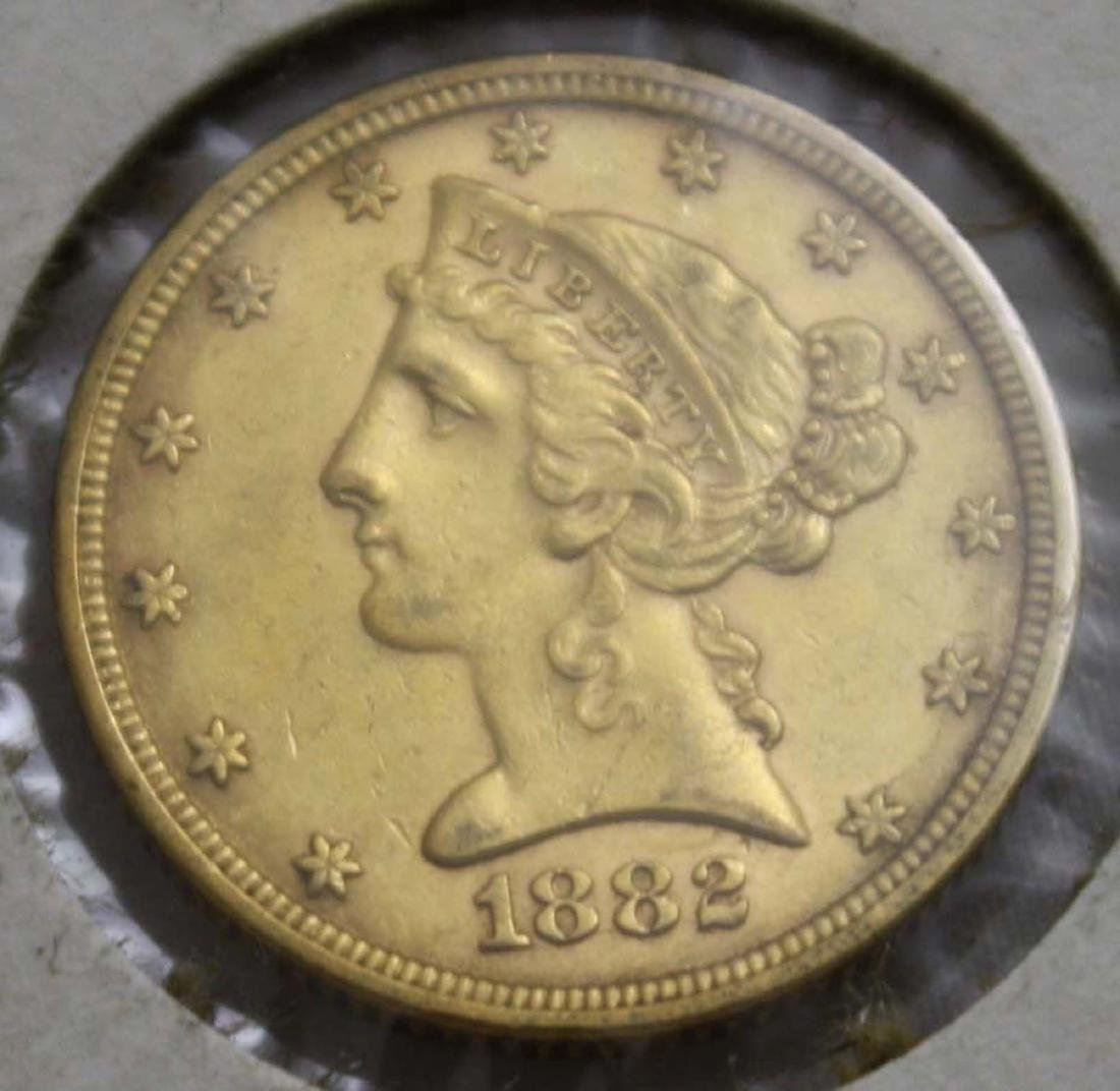 1882 $5 Liberty Head US gold coin