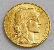 """1910, """"20 Franc"""" Gallic Rooster Gold Coin."""