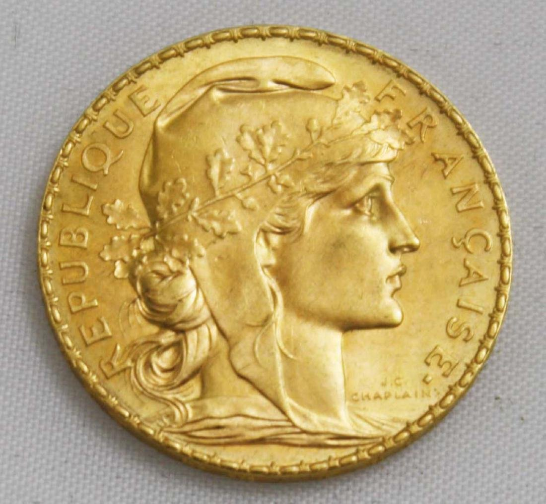"1910, ""20 Franc"" Gallic Rooster Gold Coin."