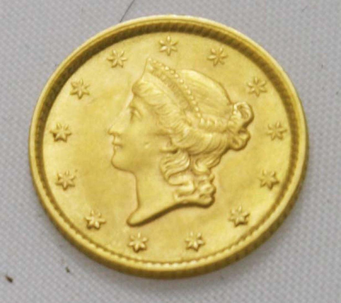 1853 $1 US Liberty head gold coin