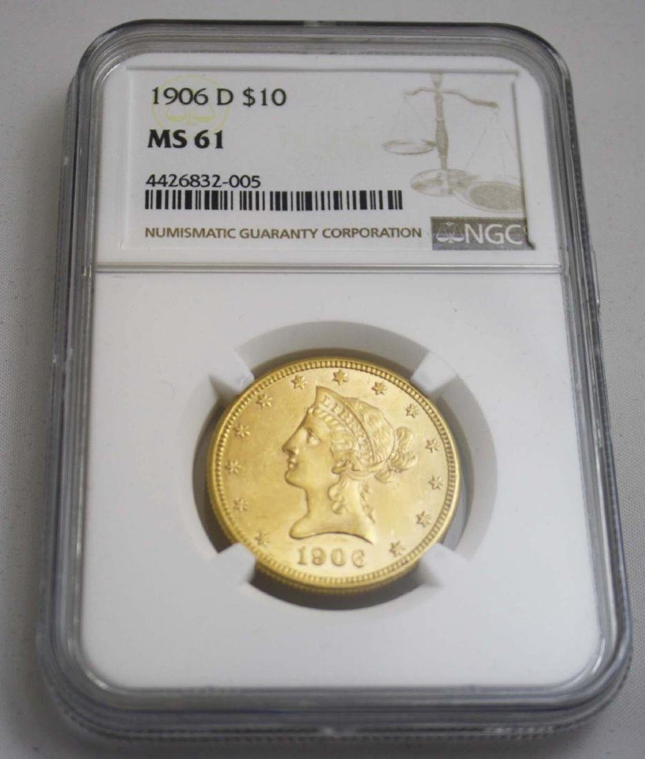 1906-D Liberty head $10 US gold coin