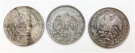 3 Mexican silver peso coins