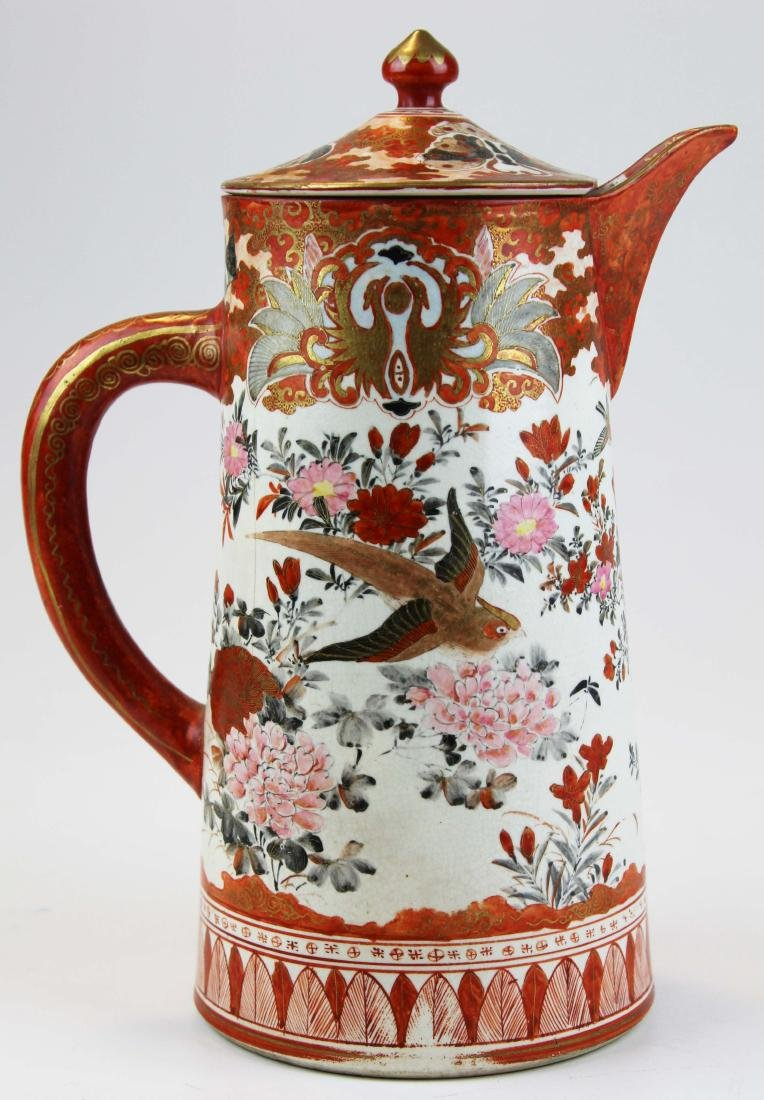 late 19th c Kutani gilt & iron red pitcher