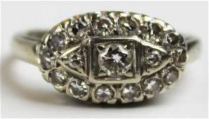 Diamond Edwardian 14k white gold ring
