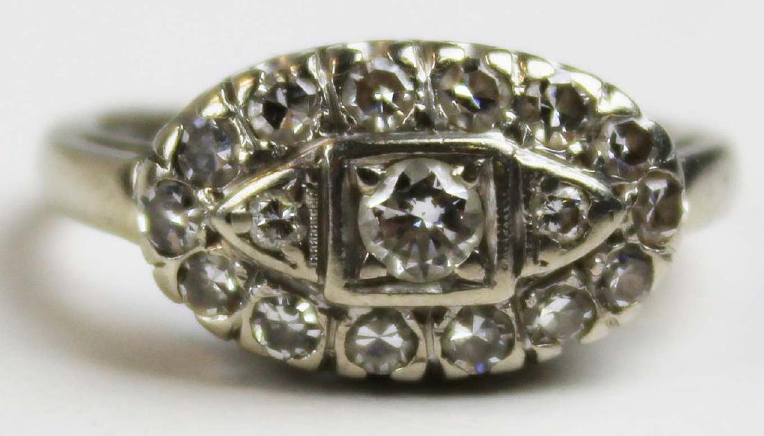 Diamond Edwardian 14k white gold ring