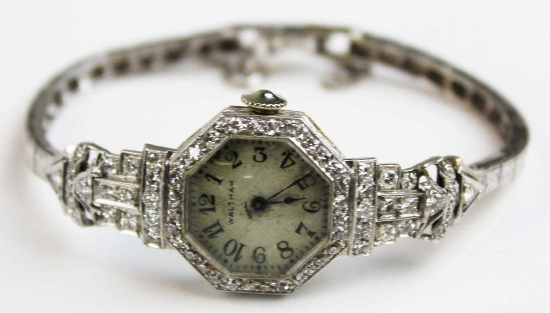 14k diamond & white gold Art Deco ladies wrist watch