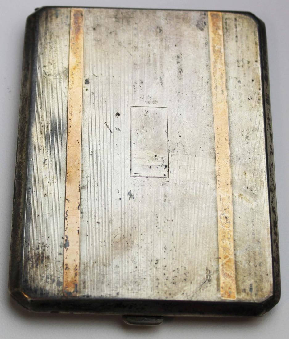 Sterling & 14k y g inlaid cigarette case