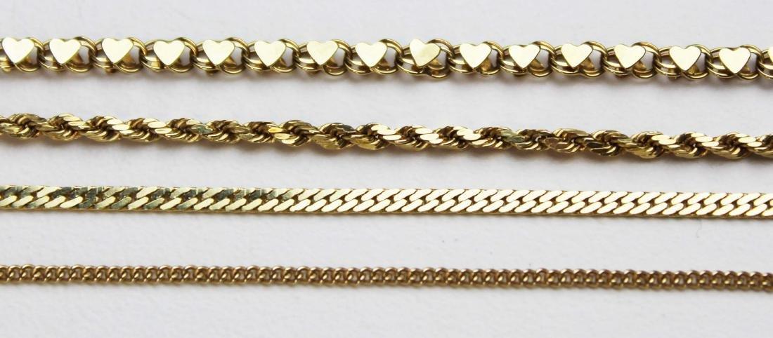 14k yellow gold chains & bracelets