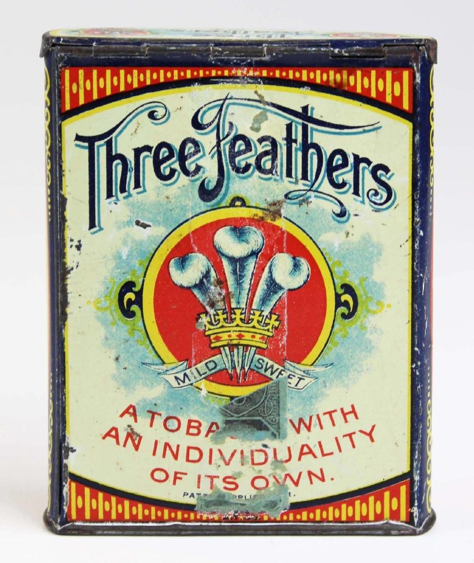 Three Feathers pocket tobacco tin