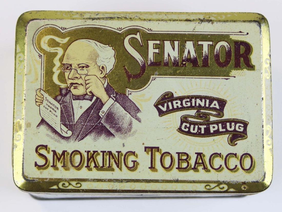 Senator round corner tobacco tin