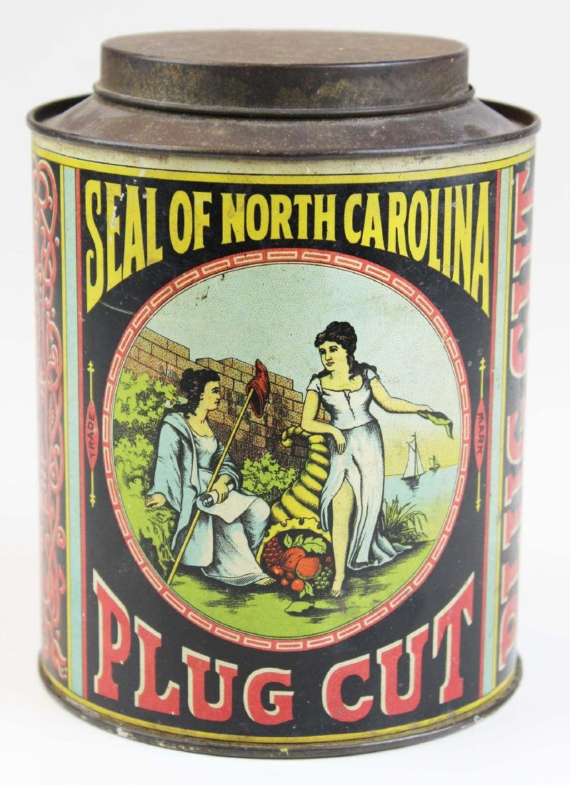Seal of North Carolina cannister tobacco tin