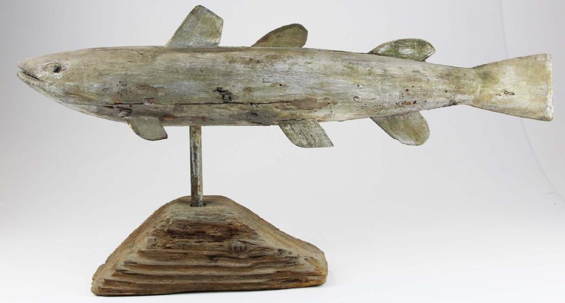 19th c carved & painted fish weathervane