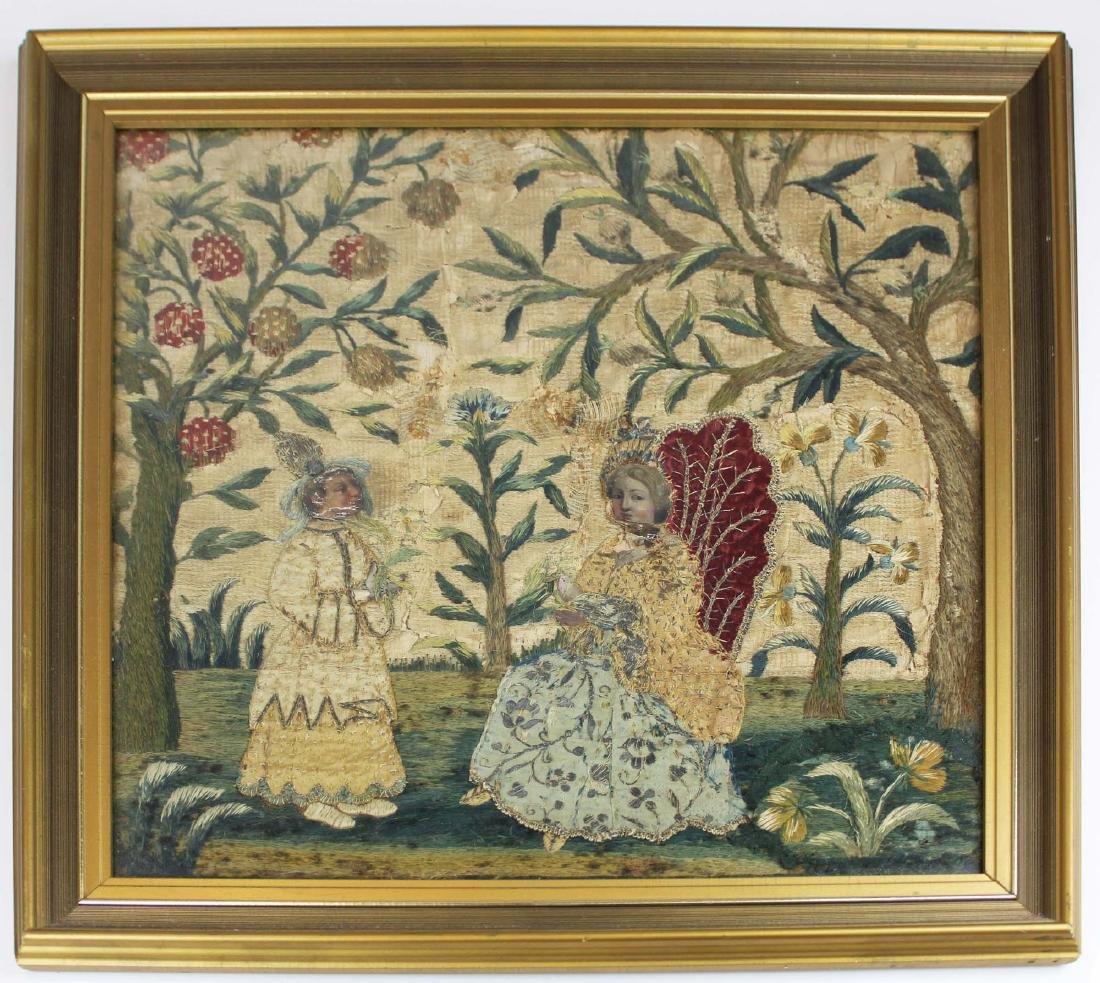 17th c Stuart needlework picture
