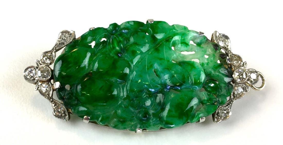 Art Deco 14k carved jade & diamond pendant