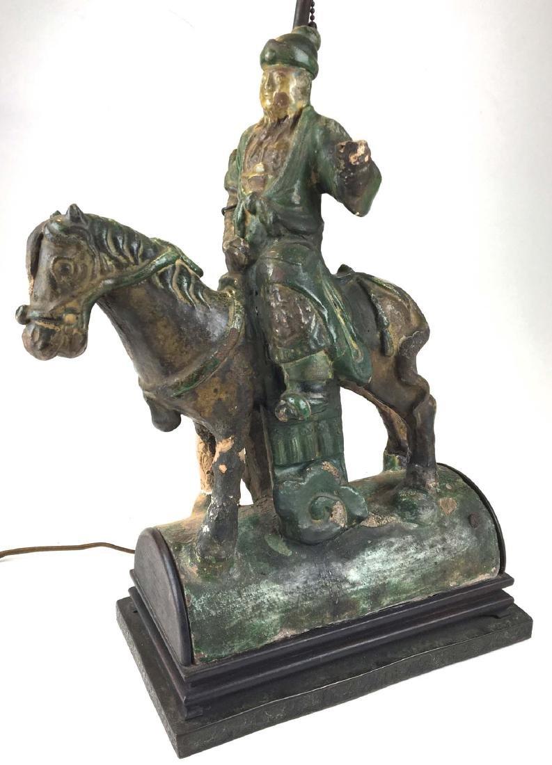 Ancient Chinese majolica glazed horse & rider