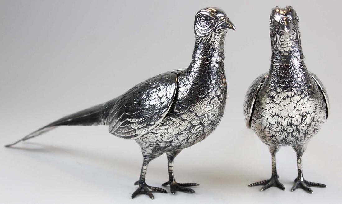 Pair of German 800 silver figural pheasant boxes
