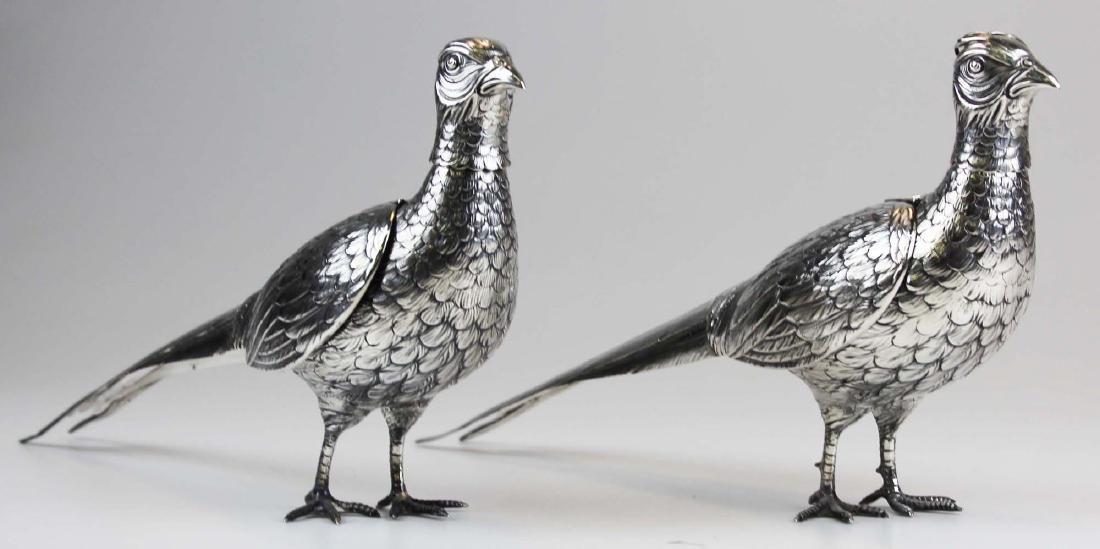 Pair of German 800 silver figural pheasant boxes - 2