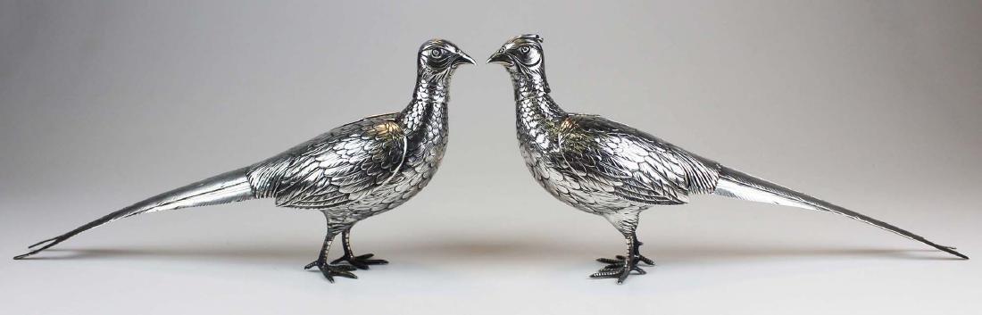 Pair of German 800 silver figural pheasant boxes - 3