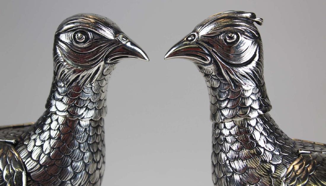 Pair of German 800 silver figural pheasant boxes - 4
