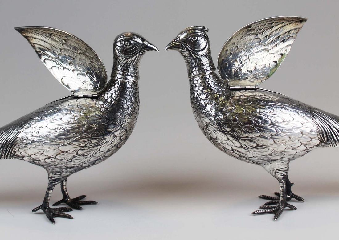 Pair of German 800 silver figural pheasant boxes - 5