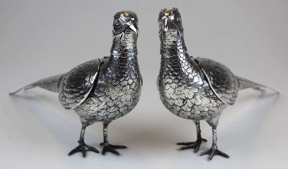 Pair of German 800 silver figural pheasant boxes - 6