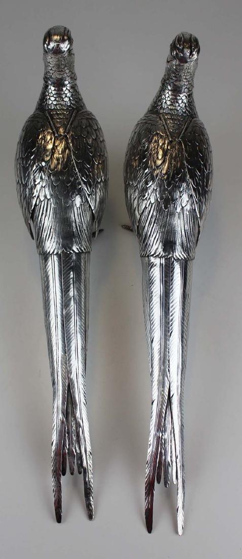 Pair of German 800 silver figural pheasant boxes - 7
