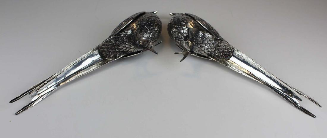 Pair of German 800 silver figural pheasant boxes - 8