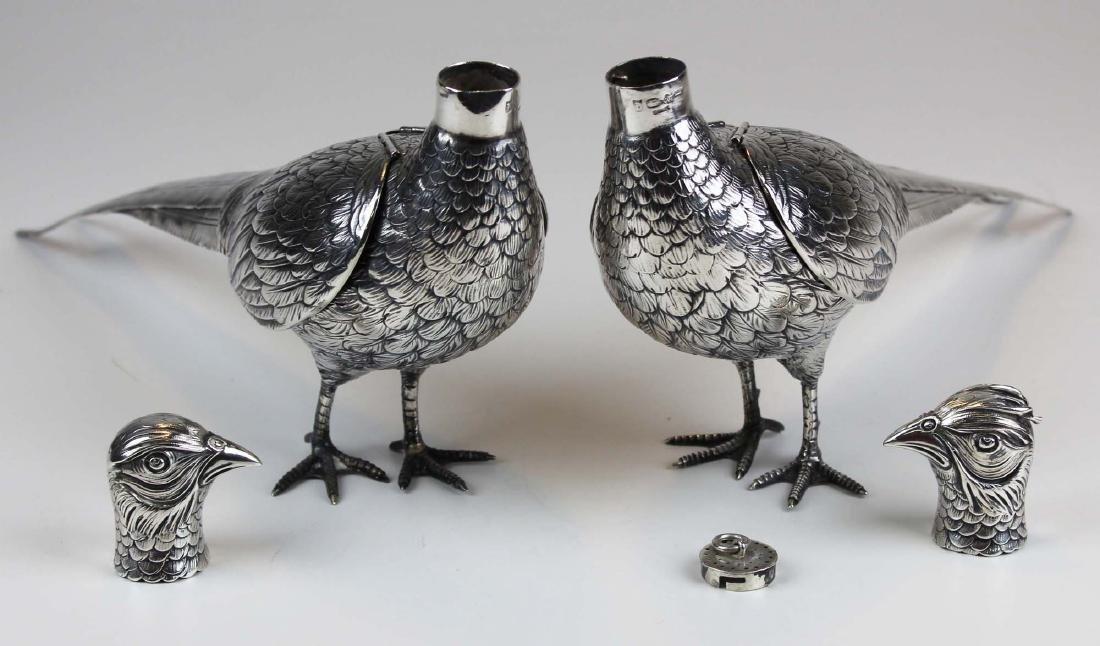 Pair of German 800 silver figural pheasant boxes - 9