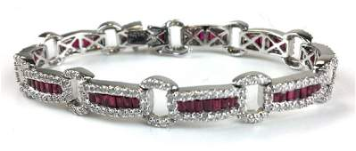 Diamond, ruby & white gold bracelet.