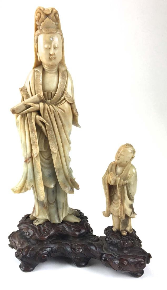 Chinese nephrite jade carved male & female figure