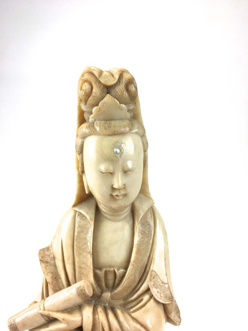 Chinese nephrite jade carved male & female figure - 2