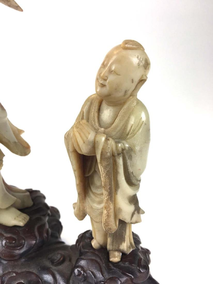 Chinese nephrite jade carved male & female figure - 3