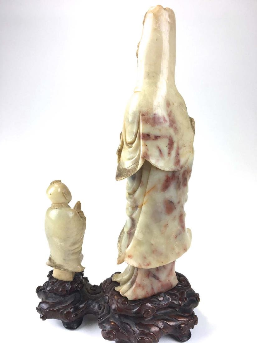Chinese nephrite jade carved male & female figure - 4