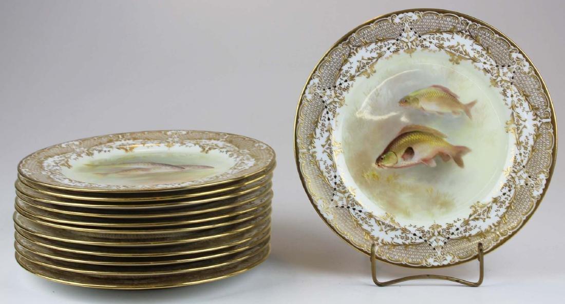 12 Royal Doulton handpainted gilt fish plates