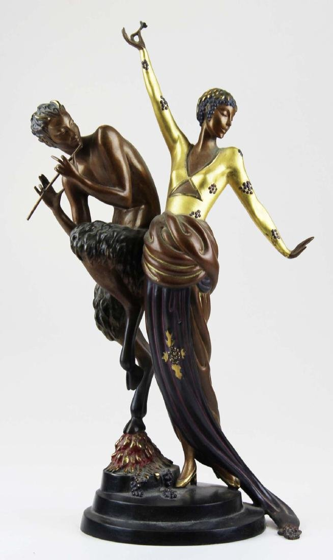 "Erte ""Woman & Satyr"" bronze sculpture"
