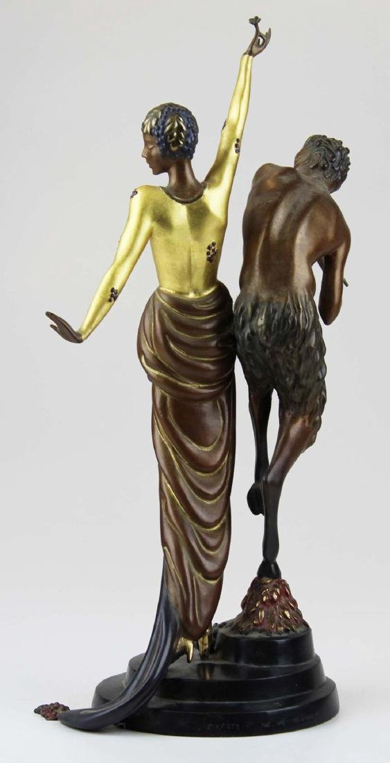 "Erte ""Woman & Satyr"" bronze sculpture - 3"