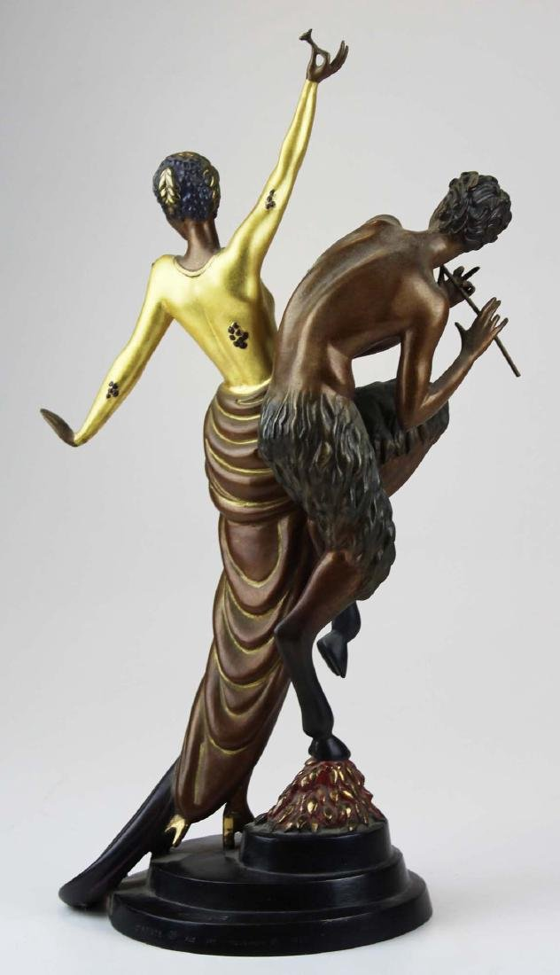"Erte ""Woman & Satyr"" bronze sculpture - 4"
